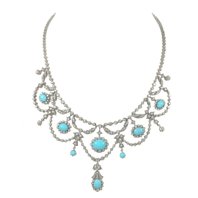 Fine persian turquoise white gold and diamond necklace at for Fine jewelry diamond pendants