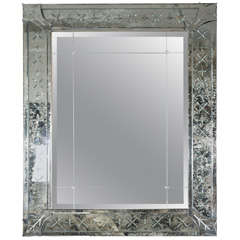 Antiqued and Etched Mirror on Gilded Frame