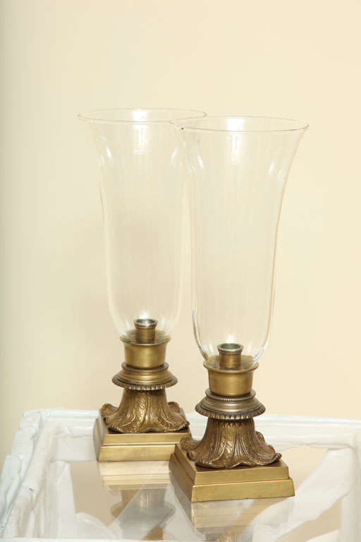 Regency Pair of Hurricane Glass Table Lamps For Sale