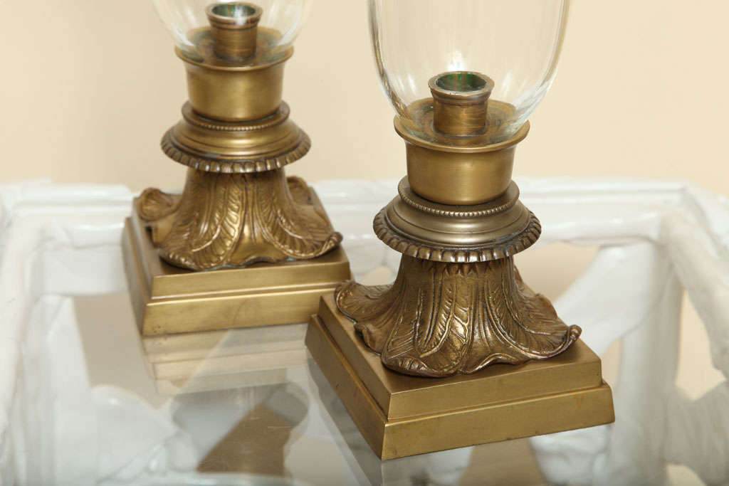 Great Britain (UK) Pair of Hurricane Glass Table Lamps For Sale