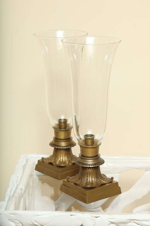 Pair of Hurricane Glass Table Lamps For Sale 1