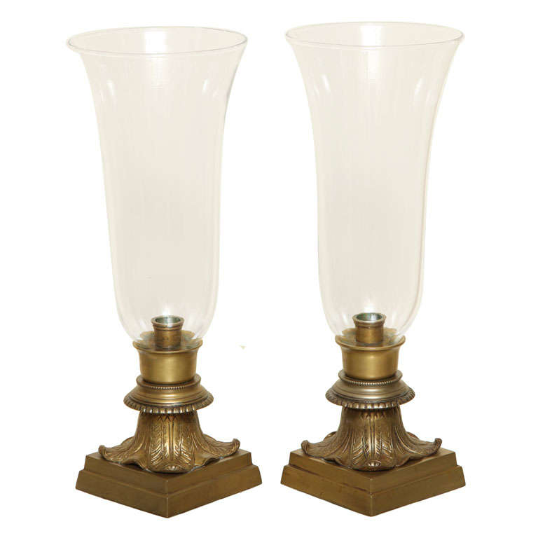Pair of Hurricane Glass Table Lamps For Sale