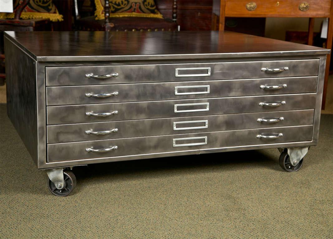 Steel Flat File Cabinet At 1stdibs