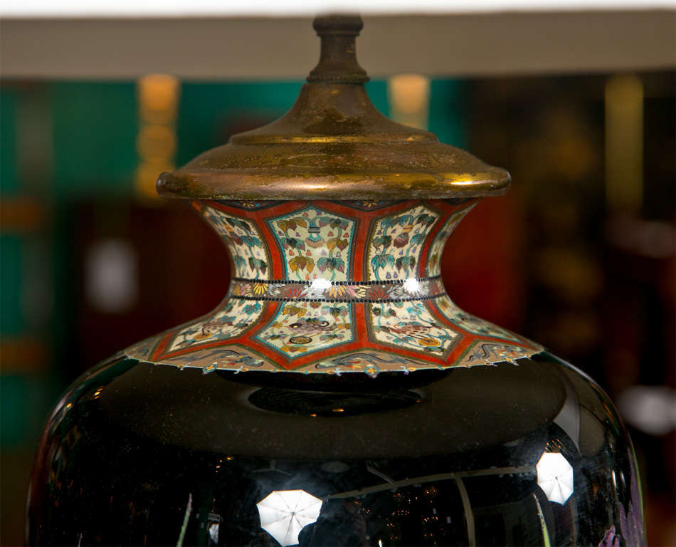 Pair of Japanese Cloisonne Lamps For Sale 1