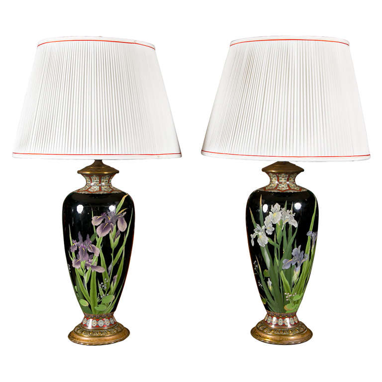 Pair of Japanese Cloisonne Lamps For Sale