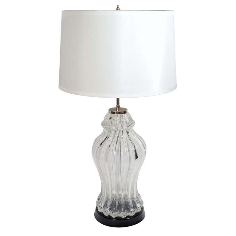 Mid-Century Modern Handblown Murano Glass Urn Lamp