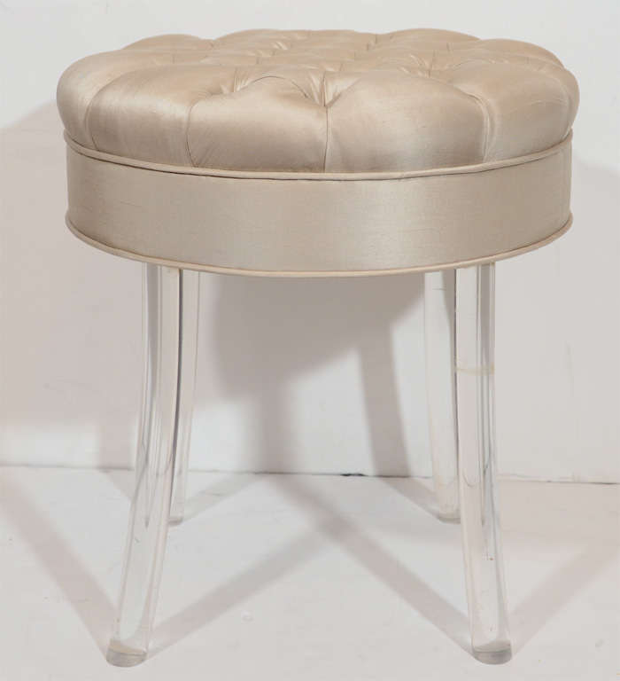 1940s hollywood tufted swivel vanity stool at 1stdibs