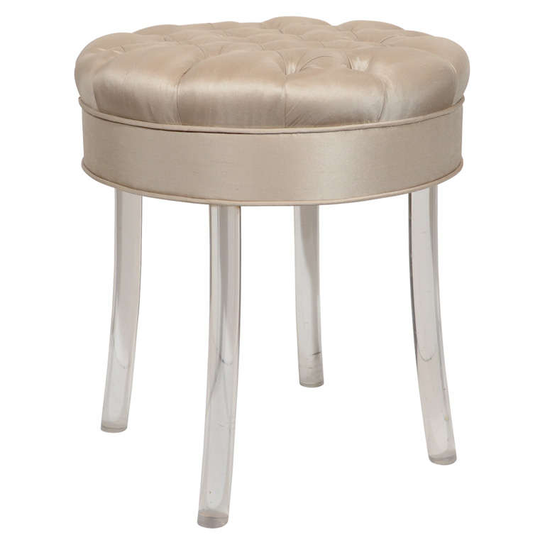 1940s hollywood tufted swivel vanity stool at 1stdibs - Swivel vanity stool with back ...