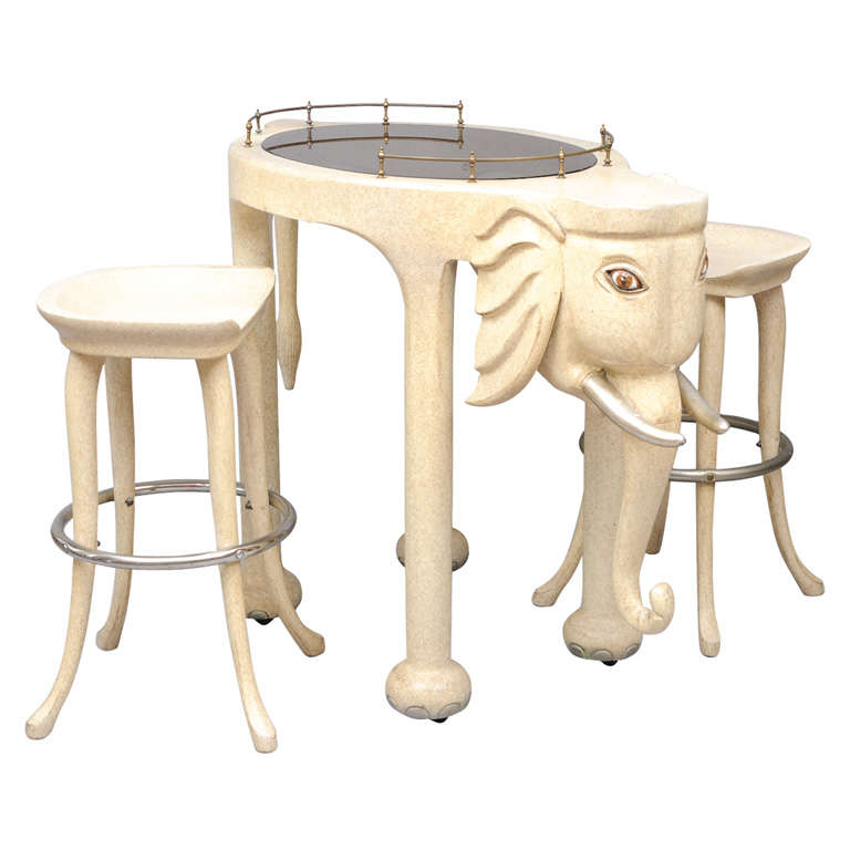 Marge Carson Elephant High Top Bar Table And Stools For
