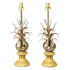 Pair of Silvergilt Acanthus and Wheat Lamps