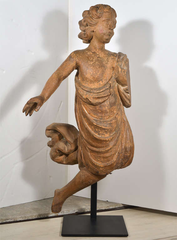 Folk Art 18th Century Carved Wooden Angel For Sale