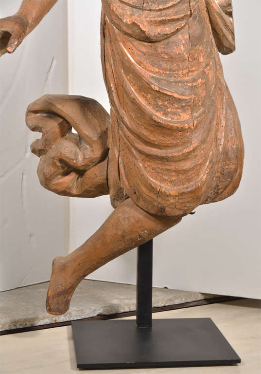 French 18th Century Carved Wooden Angel For Sale