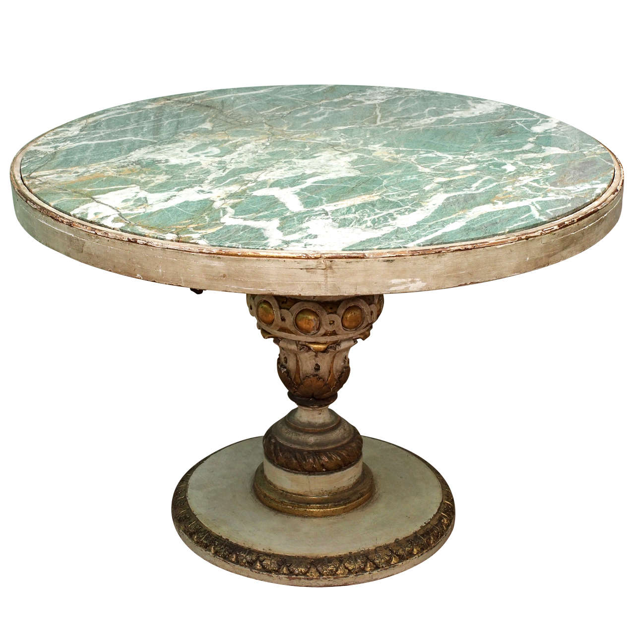 Nail Marble Top Coffee Table: Painted Italian Center Table With Green Marble Top At 1stdibs