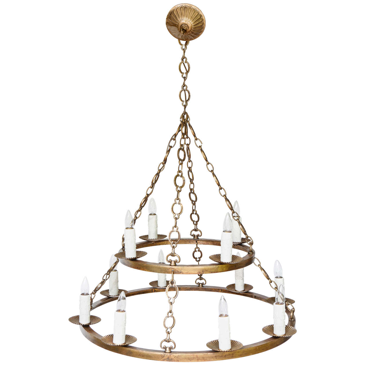 Large Double Ring Chandelier At 1stdibs