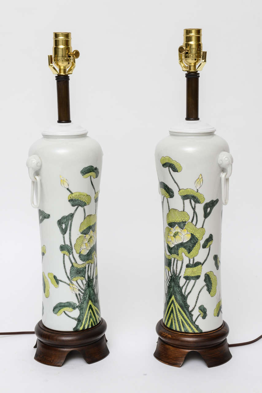 1960s japanese porcelain lotus flower vase form table lamps for sale beautiful 1060s japanese porcelain vases with lotus flower grouping painted underglaze mounted as table lamps on izmirmasajfo Choice Image
