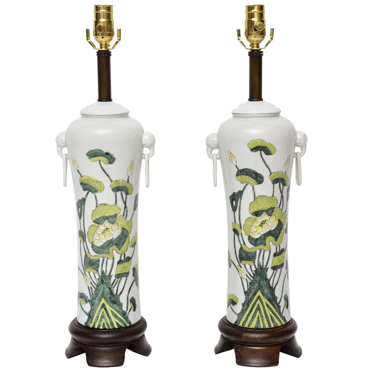 1960s japanese porcelain lotus flower vase form table lamps for sale 1960s japanese porcelain lotus flower vase form table lamps for sale izmirmasajfo