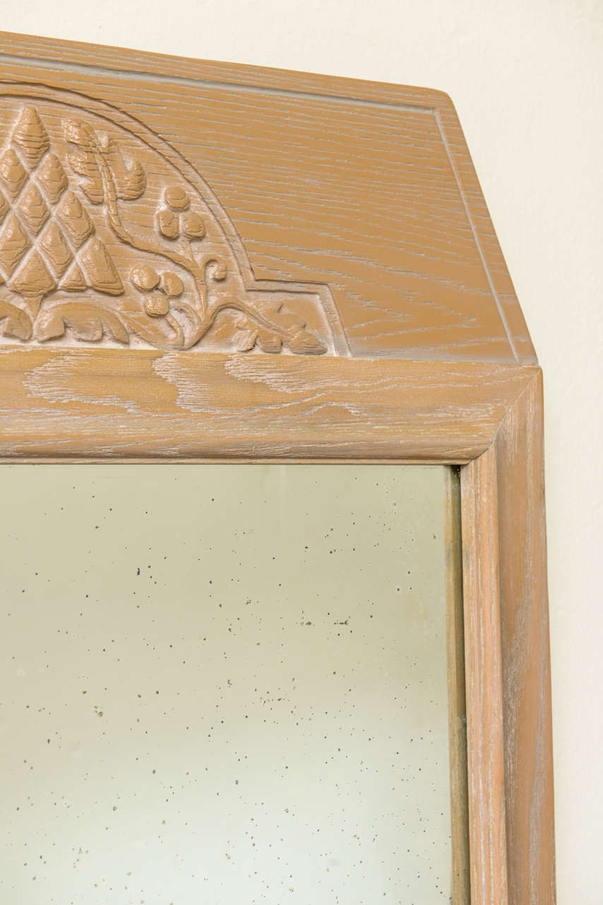 Arts and Crafts 1940s Modern Carved Cerused Oak Mirror by Jamestown Lounge Co. For Sale