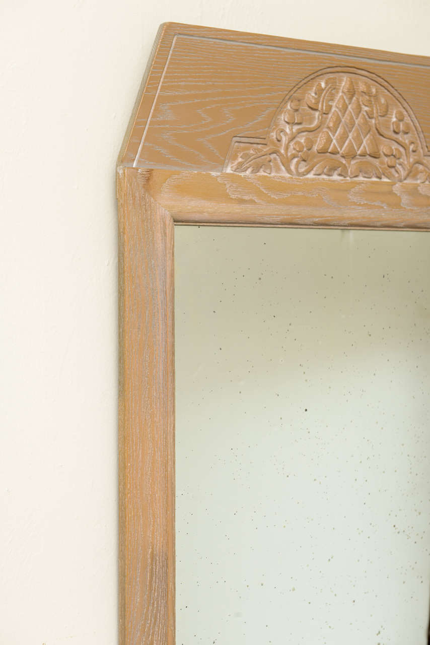 1940s Modern Carved Cerused Oak Mirror by Jamestown Lounge Co. In Good Condition For Sale In Miami, FL