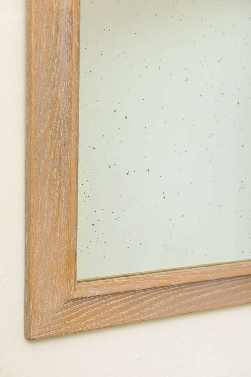 Mid-20th Century 1940s Modern Carved Cerused Oak Mirror by Jamestown Lounge Co. For Sale