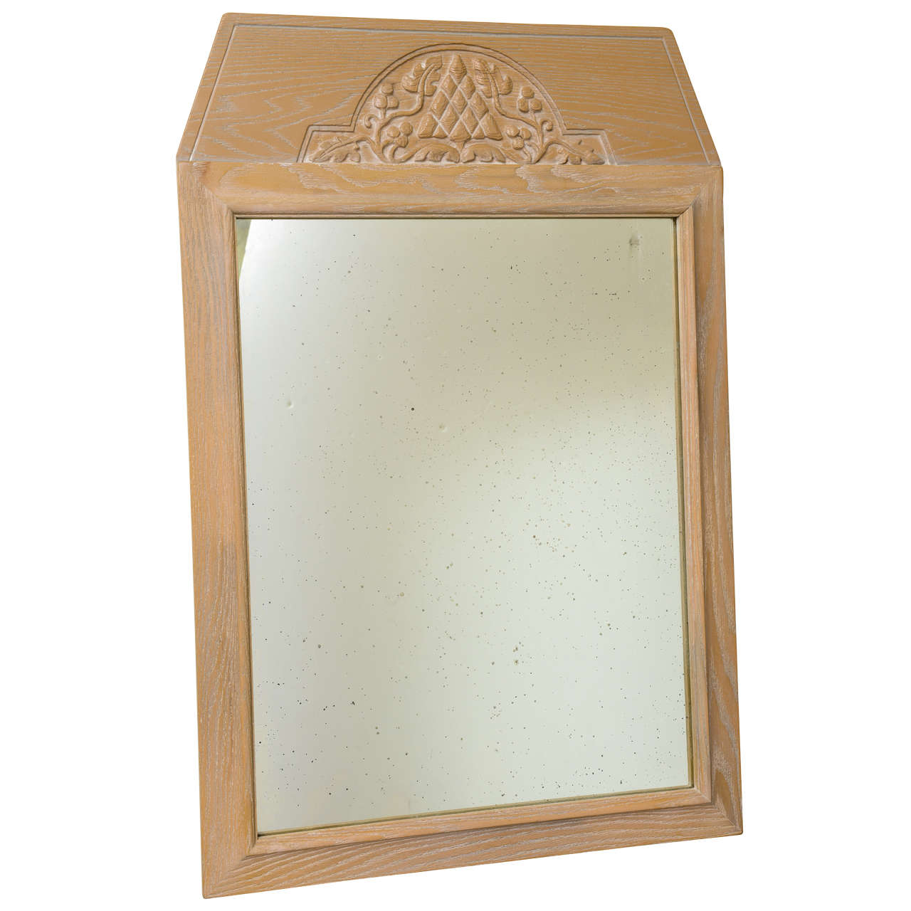 1940s Modern Carved Cerused Oak Mirror by Jamestown Lounge Co.