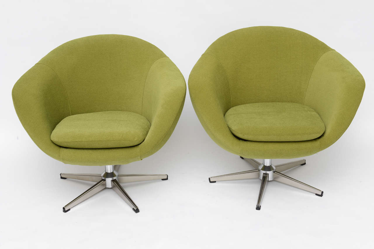 Scandinavian Modern Classic Swedish Overman Swivel Egg Chairs For Sale