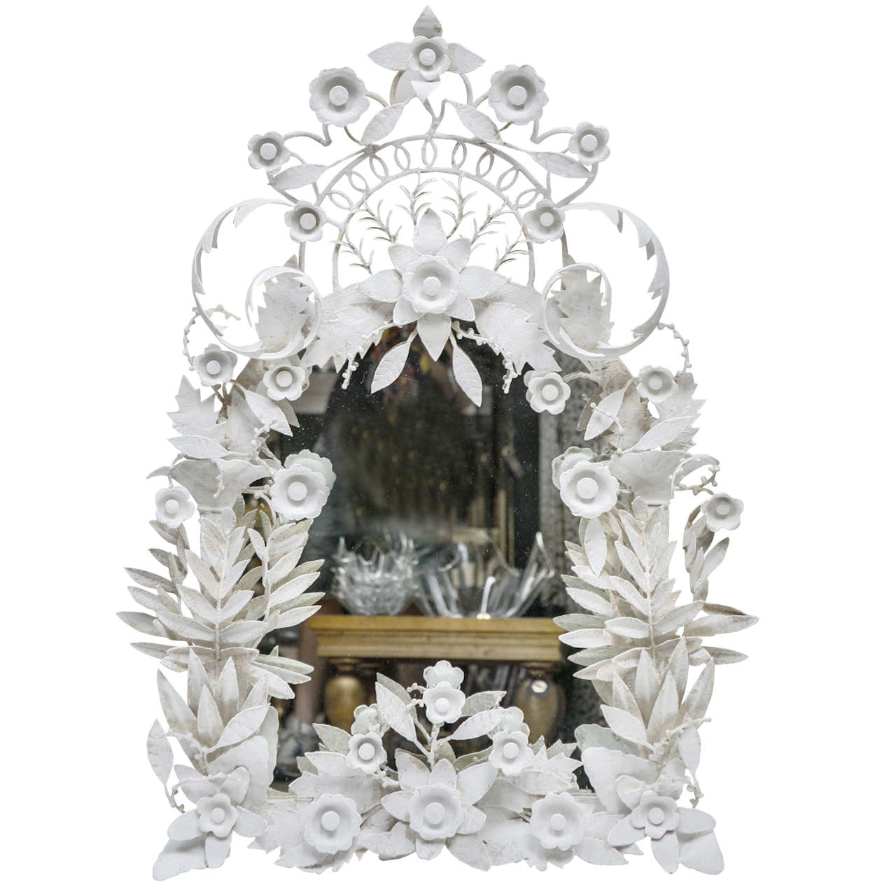 Italian rococo style white plaster mirror at 1stdibs for White baroque style mirror