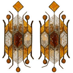 Pair of Italian Modernist Sconces by Longobard