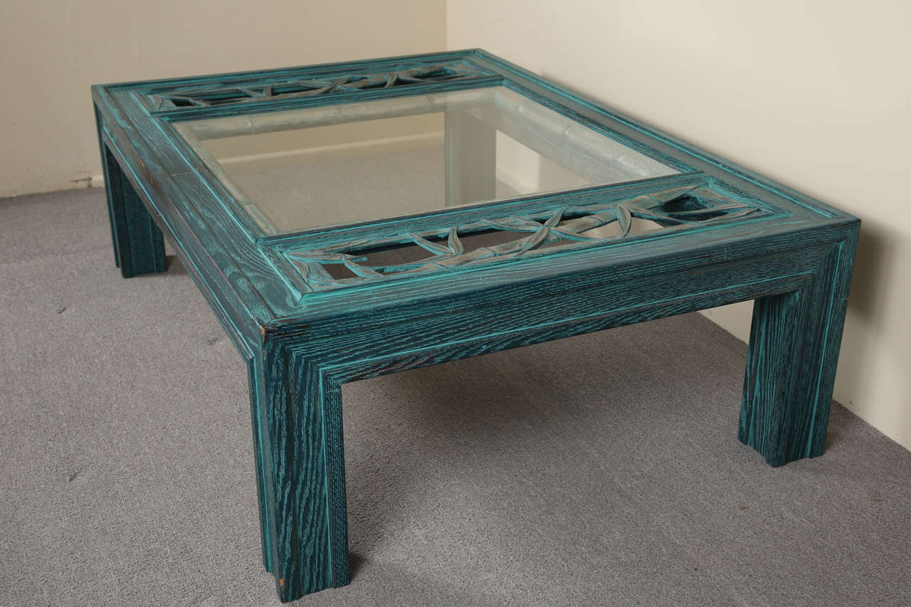 Beautiful Oak Coffee Table With Bamboo Carving And Glass Insert By James Mont At 1stdibs