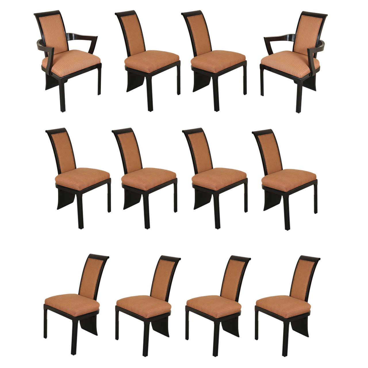 Fabulous Set Of 12 Tail Coat Dining Chairs By James Mont At 1stdibs
