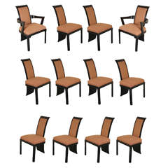 Fabulous set of 12 Tail Coat Dining Chairs by James Mont