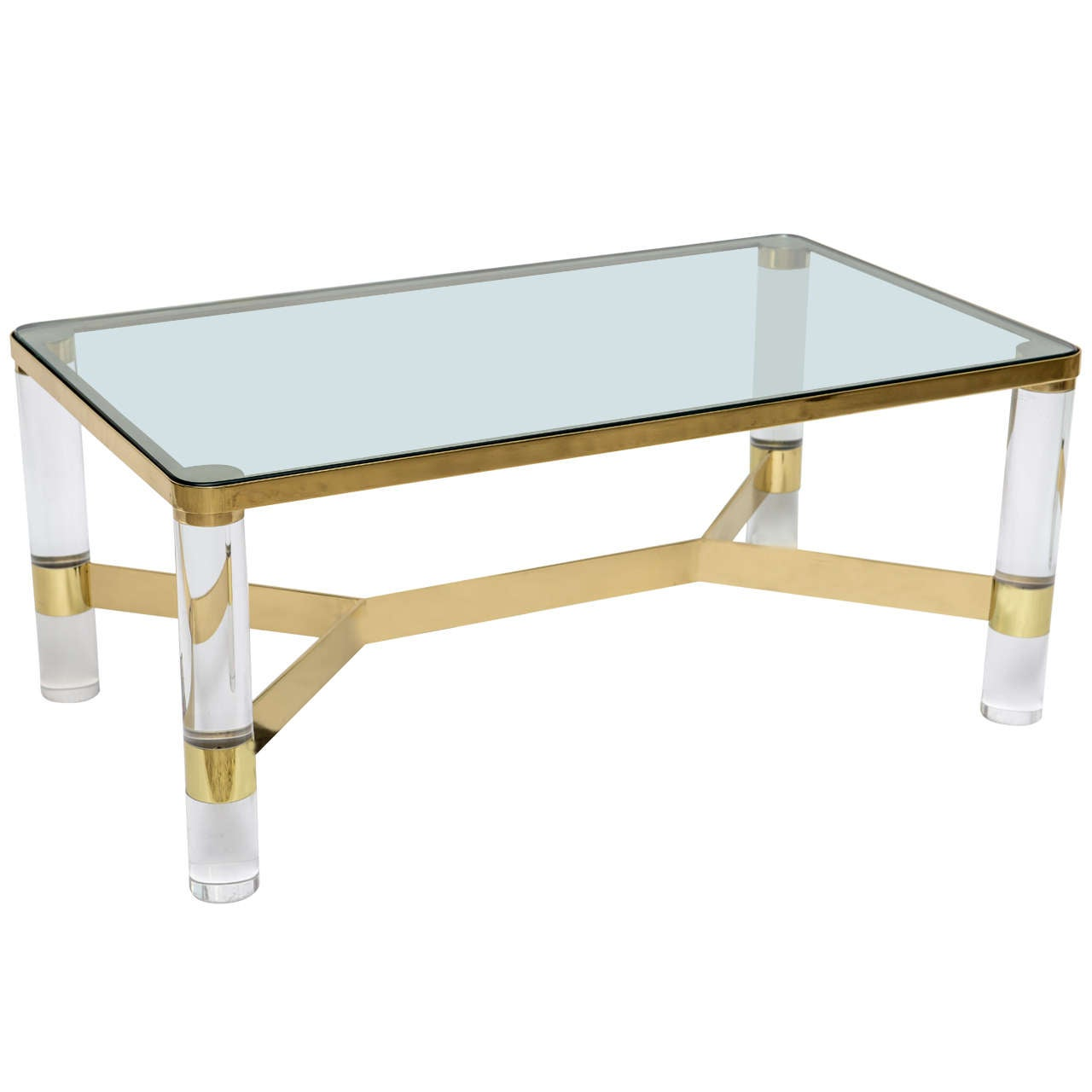 Signed Karl Springer Lucite And Polished Bronze Coffee Table 1
