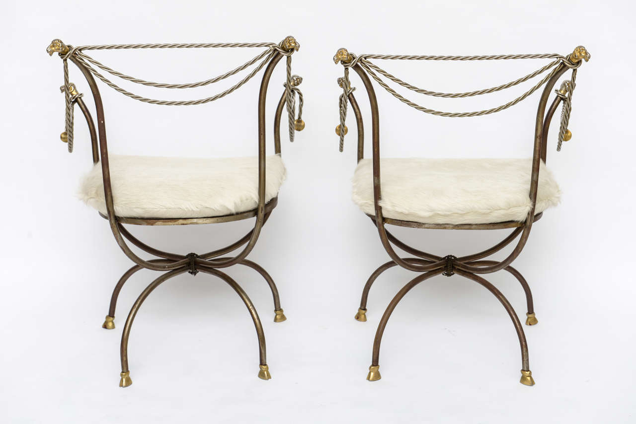 Pair Of Steel And Brass Campaign Chairs For Sale At 1stdibs