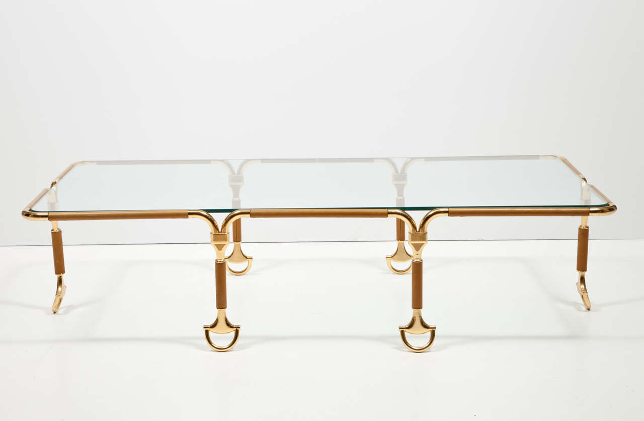Rare Gucci Italian Leather Cocktail Table With GoldPlated - Gucci coffee table