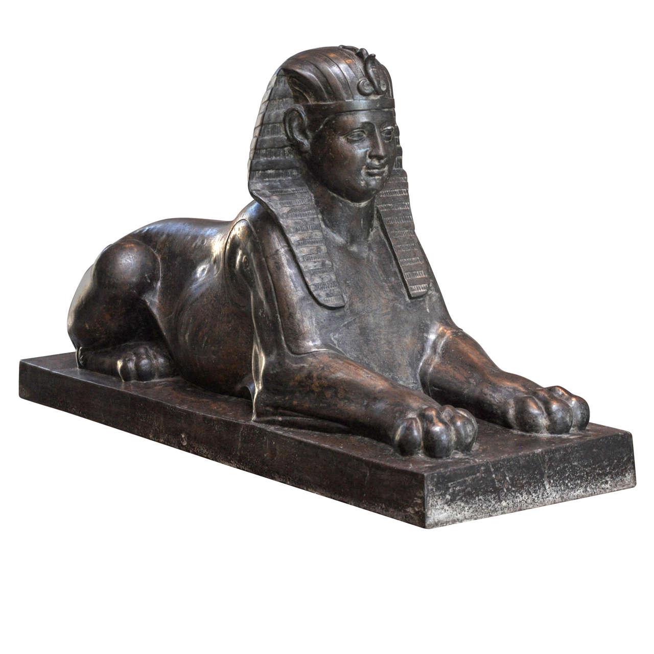 Cast iron sphinx sculpture at 1stdibs - Wrought iron garden sculptures ...