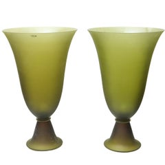 Pair of Seguso Apple Green Vases