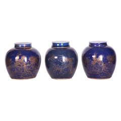 Three Chinese Late 18th Century Blue-Glazed and Gilt Porcelain Ginger Jars