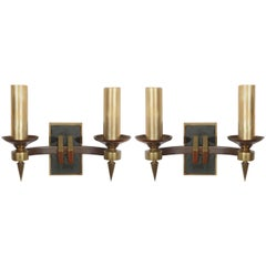 Pair of French Modern Double Sconces