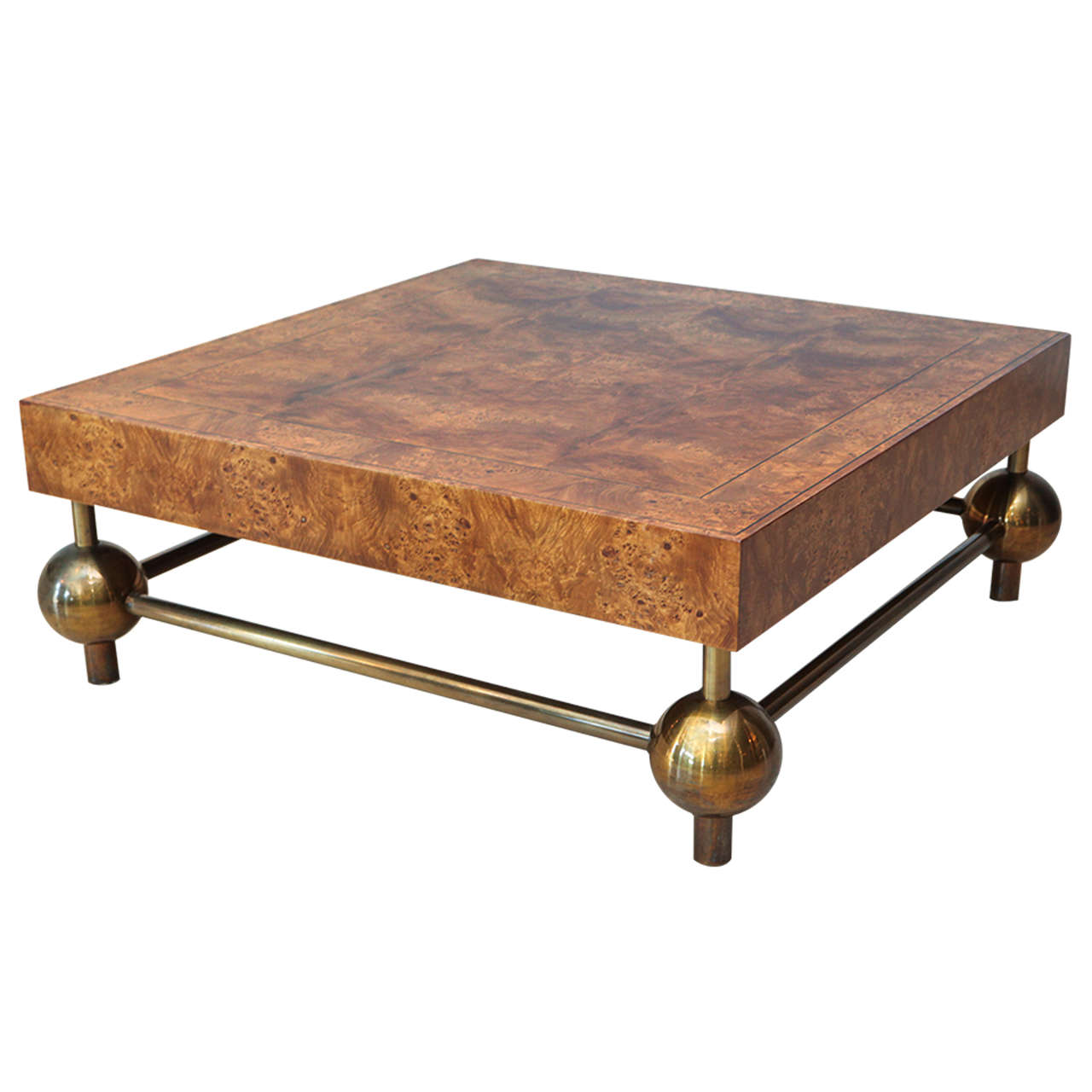 Square Olive Burl And Brass Coffee Table At 1stdibs