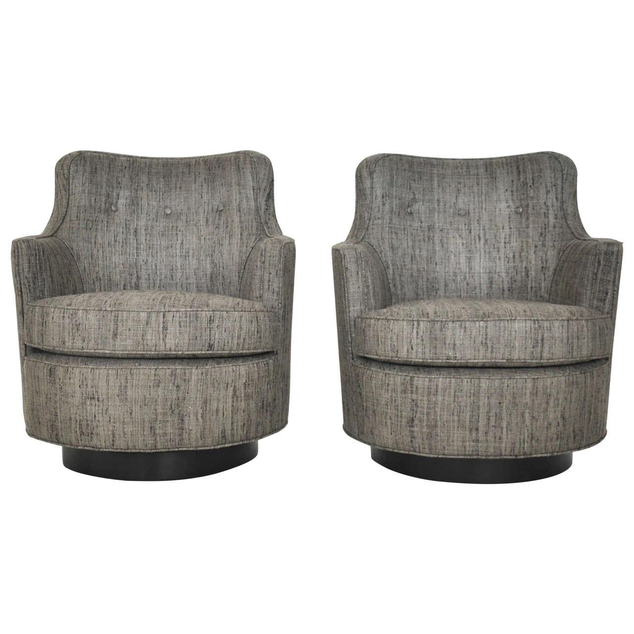 Dunbar swivel lounge chairs by edward wormley at 1stdibs - Edward wormley chairs ...