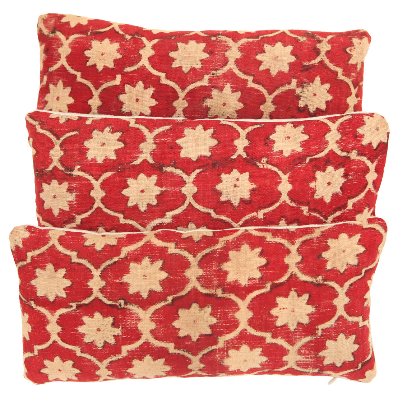 Antique Indian Kalamkari Fabric Lumbar Pillows