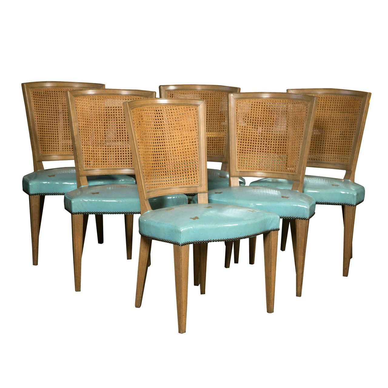 Set of six blue leather baker dining chairs at 1stdibs for Dining room chairs set of 6