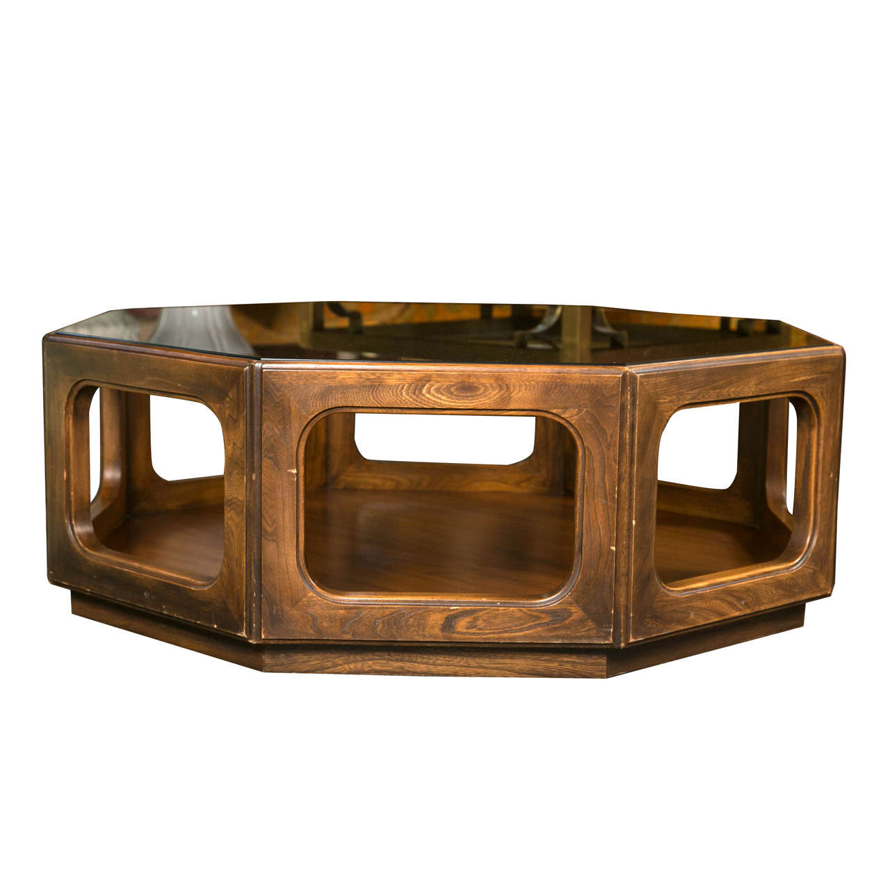Octagonal midcentury glass top coffee table for sale at for Coffee tables glass top