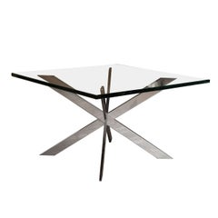 Pace Double X Chrome Coffee Table with Glass Top