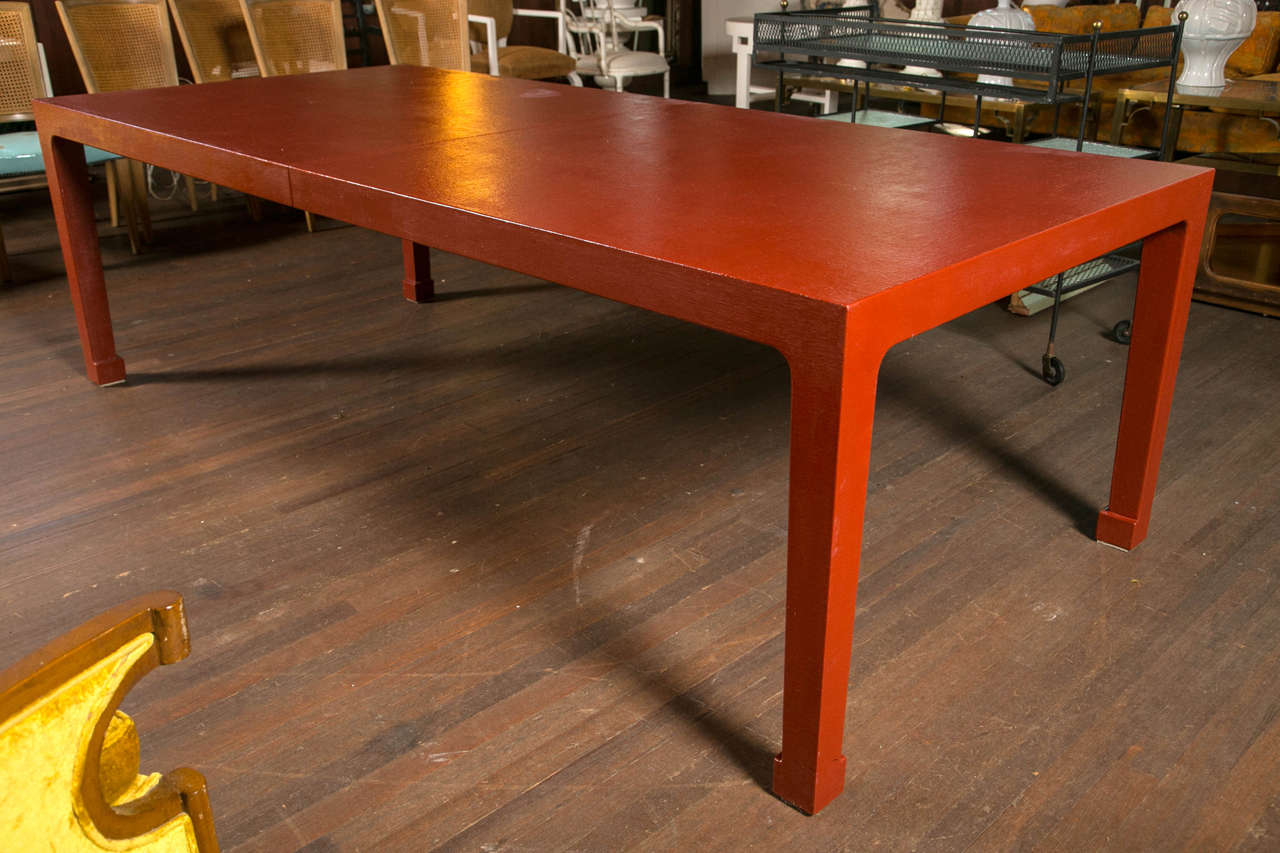 Good Linen Textured Finish Red Parsons Extension Dining Table With Two 20
