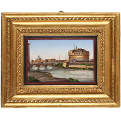 19th Century Italian (Rome) Fine micro mosaic of Castel Sant'Angelo in Rome
