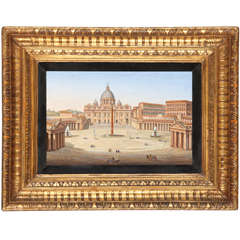 19th Century Fine Italian micro mosaic with a view of Saint Peter's square
