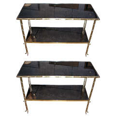 Two 1970s End Tables Attributed to Maison Bagues
