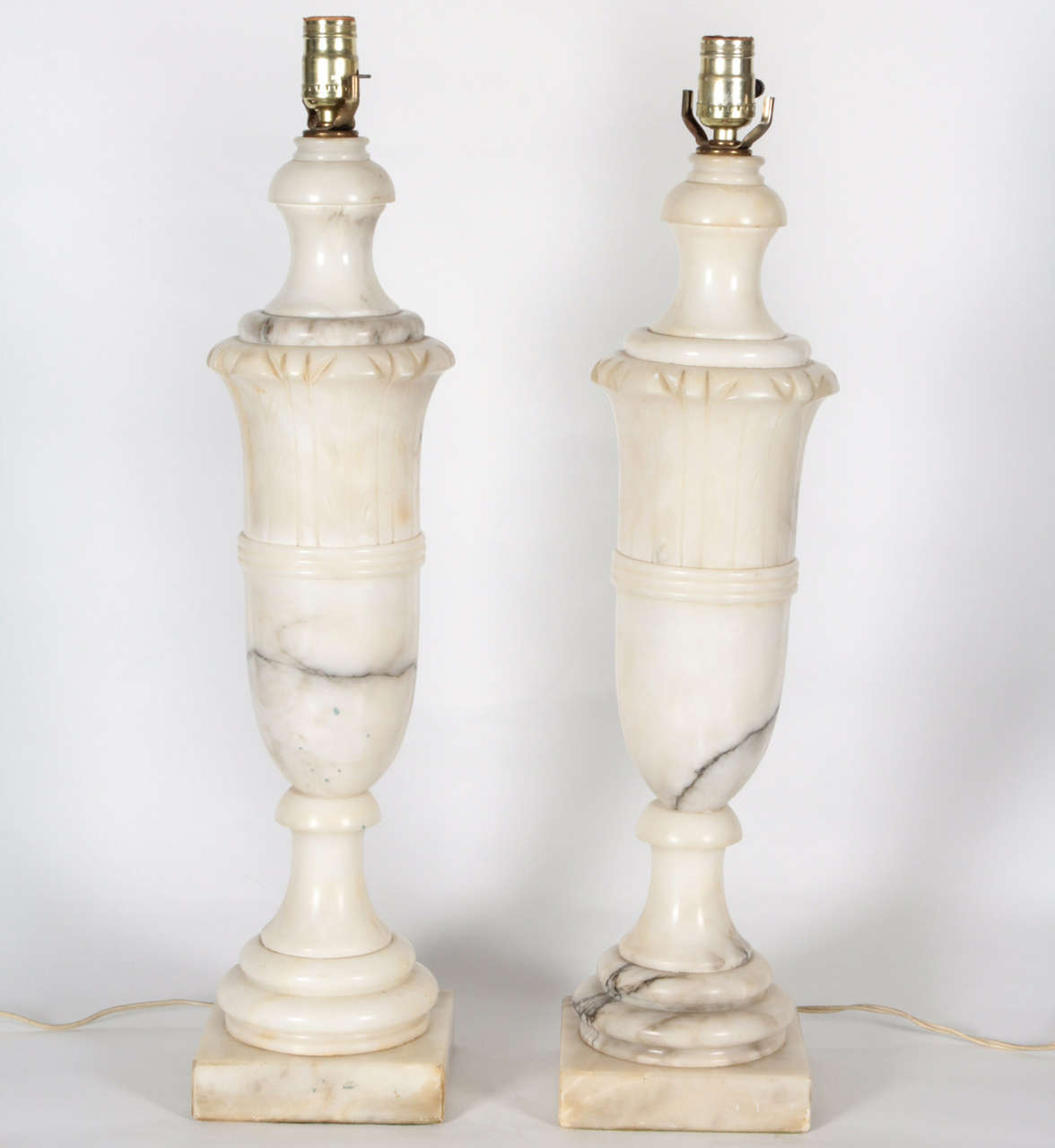 Pair Carved Marble 1940 S Table Lamps For Sale At 1stdibs