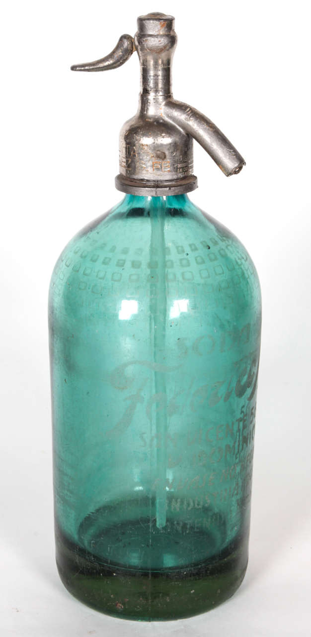 Two Green French Vintage Seltzer Bottles At 1stdibs