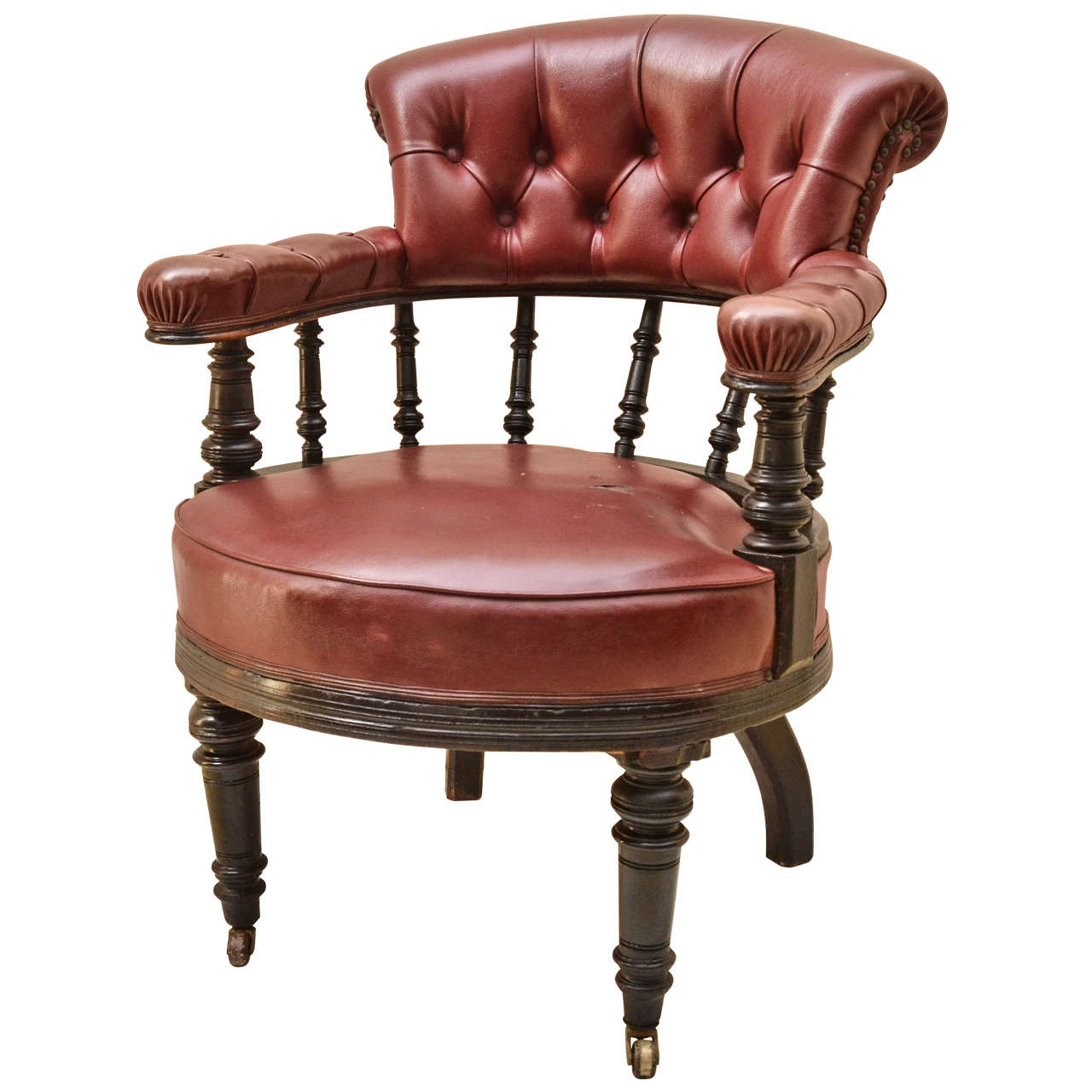 English Ebonised Tufted Back Open Open Arm Chair For Sale